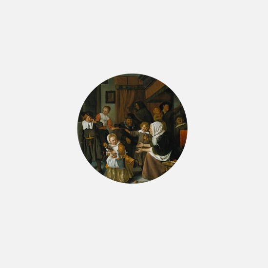 Feast of St. Nicholas; Jan Steen paint Mini Button