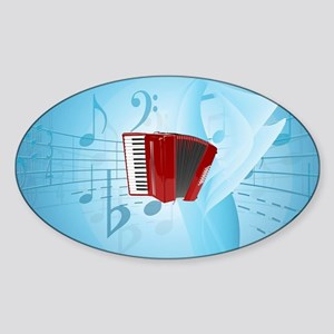 Red Accordion on Musical Background Sticker (Oval)