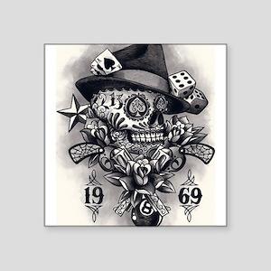 """1969 Skull Tattoo Square Sticker 3"""" x 3"""""""