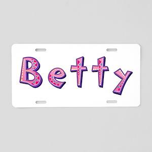 Betty Pink Giraffe Aluminum License Plate