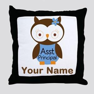 Personalized Assistant Principal Owl Throw Pillow
