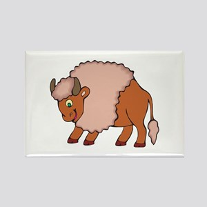 Cute Smiling Buffalo/Bison Rectangle Magnet