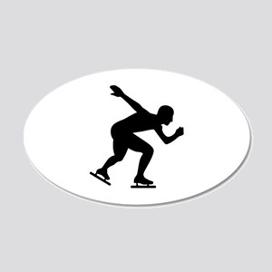 Speed skating skater 20x12 Oval Wall Decal