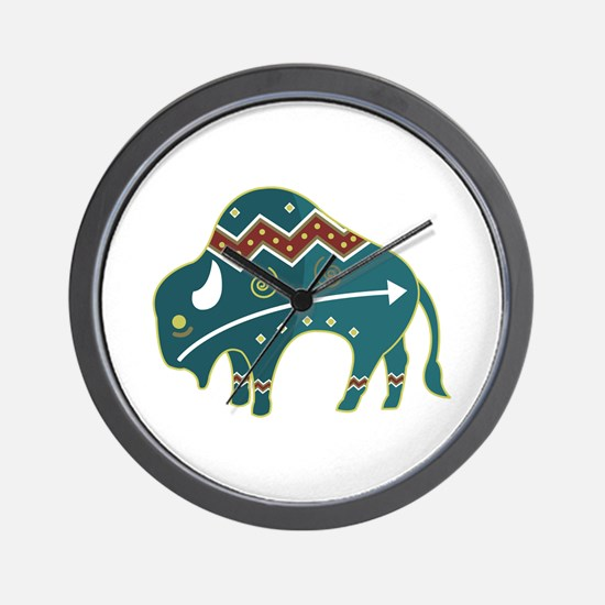 Native Buffalo Design Wall Clock