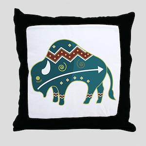 Native Buffalo Design Throw Pillow