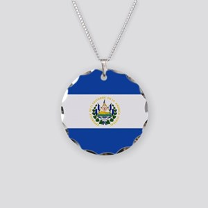 Flag of El Salvador Necklace Circle Charm