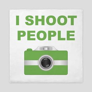 I Shoot People Green Camera Queen Duvet