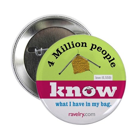 """Ravelry 4 Million My Bag 2.25"""" Button (10 Pack)"""