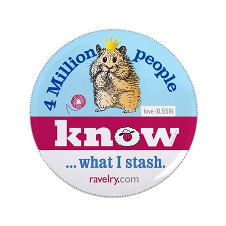 "Ravelry 4 Million Hamster 3.5"" Button (100 Pack)"