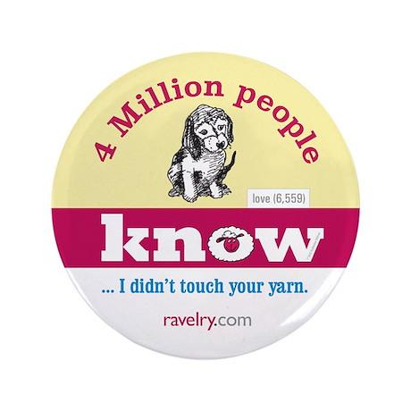 "Ravelry 4 Million Puppy 3.5"" Button (100 Pack)"
