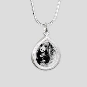Panda and baby Silver Teardrop Necklace
