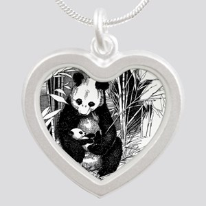 Panda and baby Silver Heart Necklace