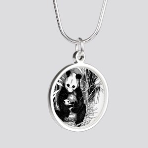 Panda and baby Silver Round Necklace