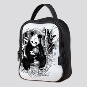 Panda and baby Neoprene Lunch Bag