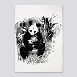 Panda and baby 5'x7'Area Rug