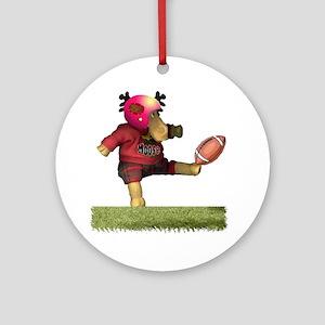 Football Moose Ornament (Round)