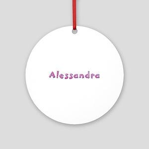 Alessandra Pink Giraffe Round Ornament