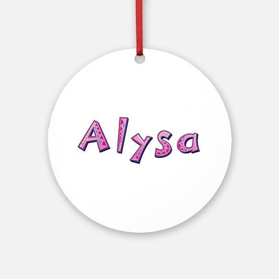 Alysa Pink Giraffe Round Ornament