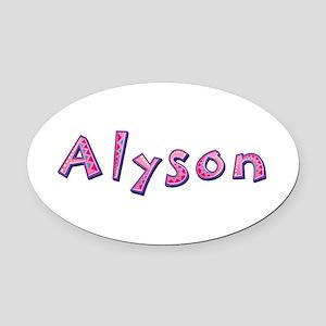 Alyson Pink Giraffe Oval Car Magnet