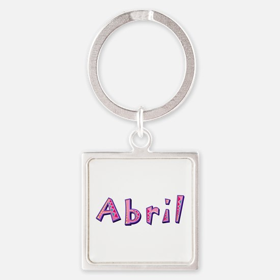 Abril Pink Giraffe Square Keychain