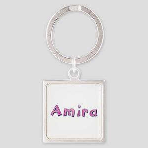 Amira Pink Giraffe Square Keychain