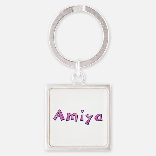 Amiya Pink Giraffe Square Keychain