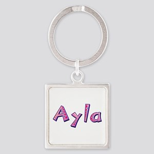 Ayla Pink Giraffe Square Keychain