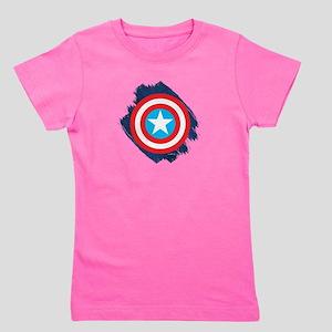 Captain America Distressed Shield Girl's Tee