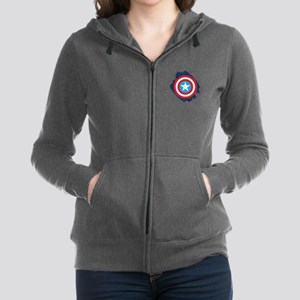 Captain America Distressed Shie Women's Zip Hoodie