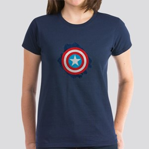 Captain America Distressed Sh Women's Dark T-Shirt