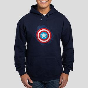 Captain America Distressed Shield Hoodie (dark)