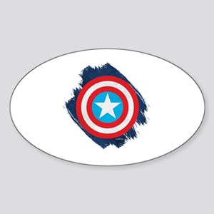 Captain America Distressed Shield Sticker (Oval)