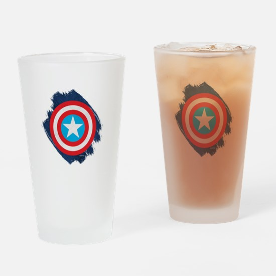 Captain America Distressed Shield Drinking Glass