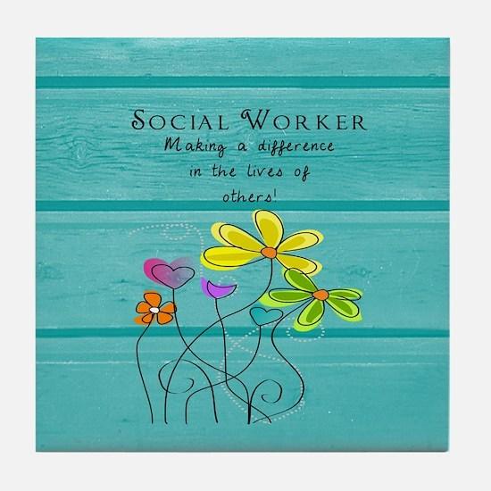 social worker Tile Coaster