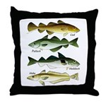 4 Cod fishes c Throw Pillow