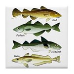 4 Cod fishes c Tile Coaster