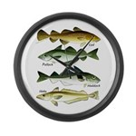 4 Cod fishes c Large Wall Clock