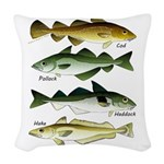 4 Cod fishes c Woven Throw Pillow