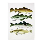 4 Cod fishes c 5'x7'Area Rug