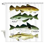 4 Cod fishes c Shower Curtain