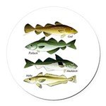4 Cod fishes Round Car Magnet