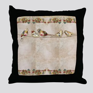 French Market Label Birds on a Wire F Throw Pillow