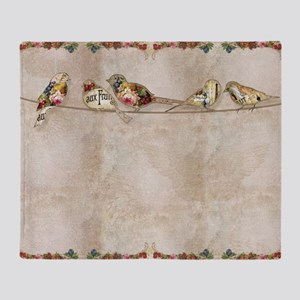 French Market Label Birds on a Wire  Throw Blanket