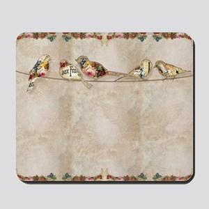 French Market Label Birds on a Wire Frui Mousepad