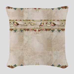 French Market Label Birds on a Woven Throw Pillow