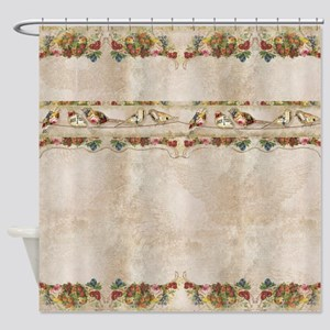 French Market Label Birds on a Wire Shower Curtain