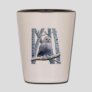 BLUE-EYED SNOW OWL Shot Glass
