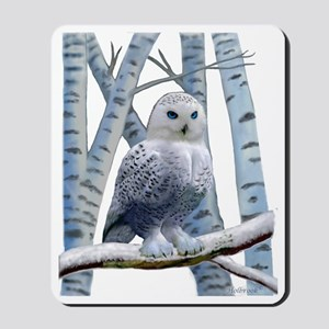 BLUE-EYED SNOW OWL Mousepad