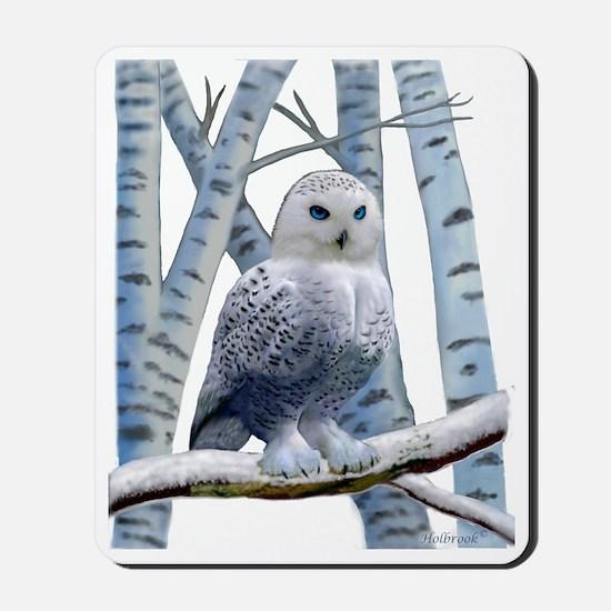 BLUE-EYED SNOW OWL Mousepad