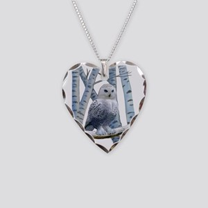 BLUE-EYED SNOW OWL Necklace Heart Charm